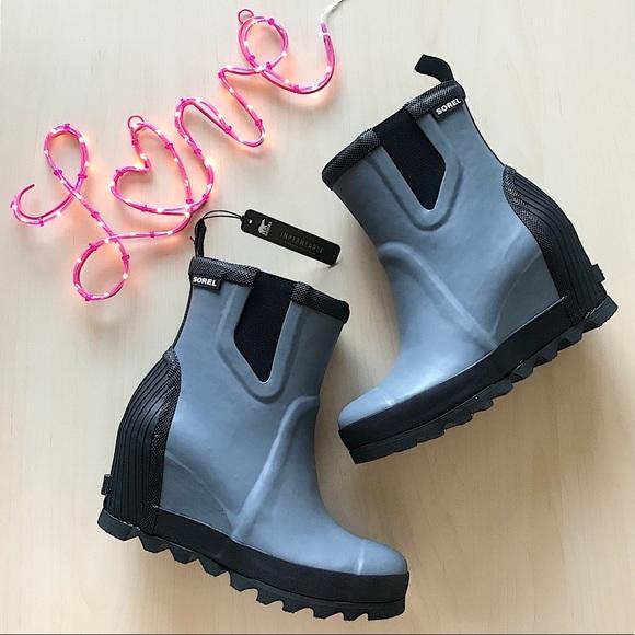 87c9ae8f13e Sorel joan rain wedge chelsea boots
